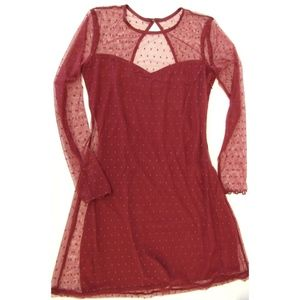 HOLLISTER Burgundy Dot Sheer Dress Sz. S